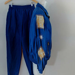 Vintage 80s 90s Studded Silk Track Suit - Size M